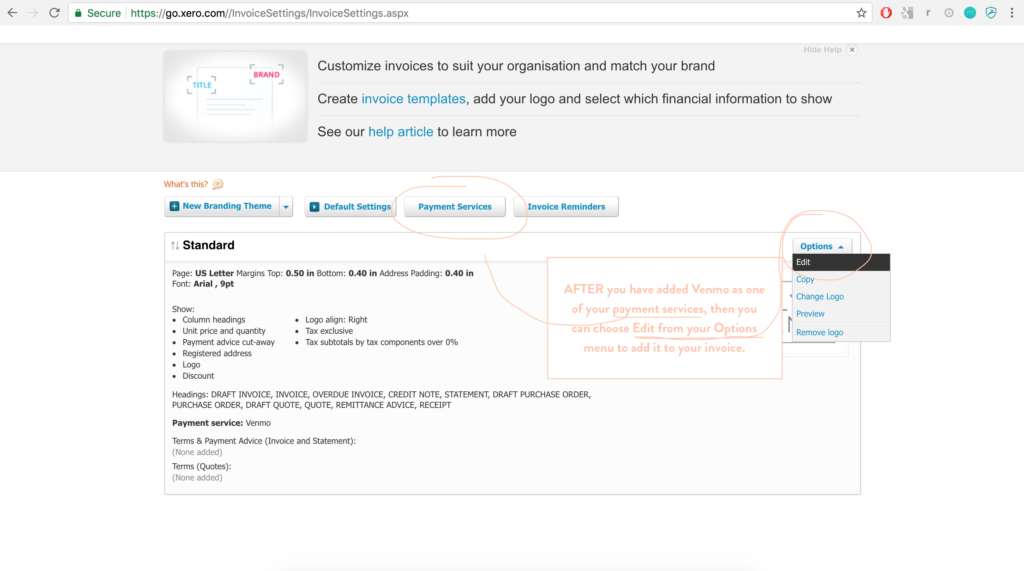 Xero Online Invoicing Online Payment Guides Pin Payments Create - Xero invoice templates
